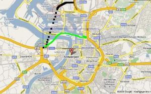 De twee hoofdzakelijke tracés, brug en tunnel